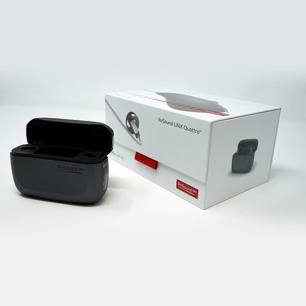 Linx Quattro Charging Case for hearing aids on white background