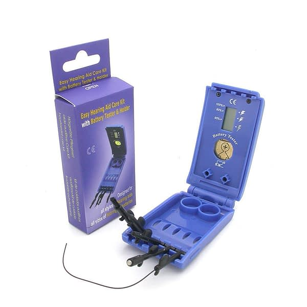 hearing aid care kit with battery tester