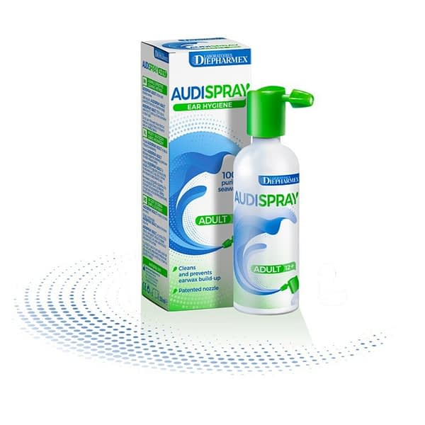 Audiospray ear wax spray on white background showing product as well as packaging
