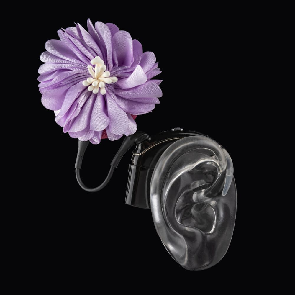 lilac flower hearing aid accessory from deafmetal